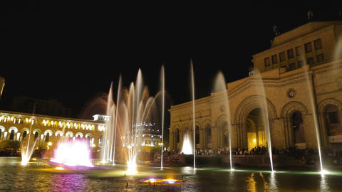 Musical fountain near History Museum with colourful backlight timelapse, Armenia Footage