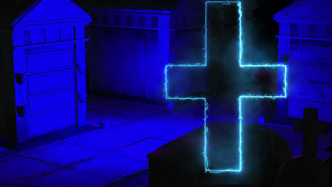creepy graveyard halloween background scene with grave and glowing cross Animation