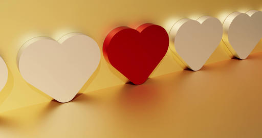 Dating service concept with a red heart. Symbol of search and find love. 3d Animation