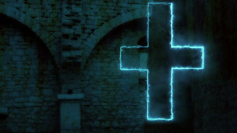 glowing cross inside in church - animation Animation
