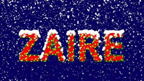 New Year text country name ZAIRE. Snow falls. Christmas mood, looped video. Animation
