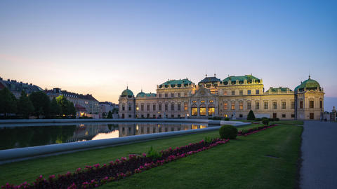 Day to night timelapse of Belvedere Palace in Vienna, Austria time lapse Footage