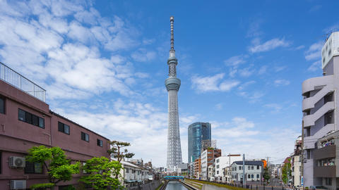 Time lapse video of Tokyo Sky Tree with cloudy sky in Tokyo, Japan timelapse Live Action