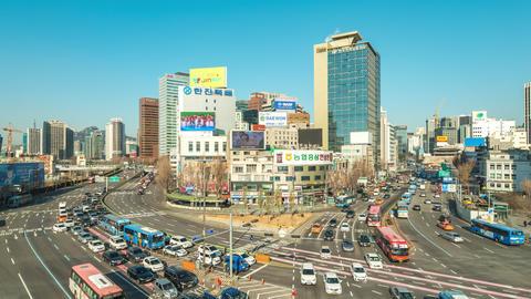 Traffic of Seoul city road in Seoul, South Korea timelapse 4K Live Action