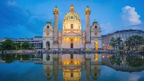 Day to night timelapse of Karlskiche Church in Vienna city, Austria time lapse Footage