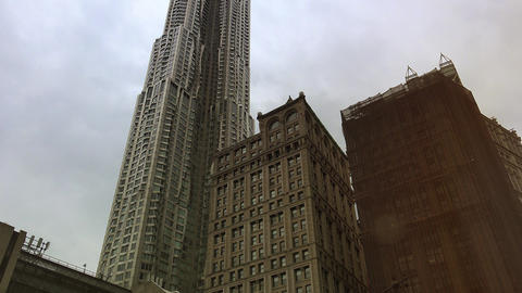 New York City, USA: Centre Street with a view of New York by Frank Gehry Footage