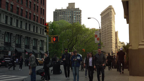 NEW YORK CITY,USA- Traffic passing in front of New York's iconic Flatiron GIF
