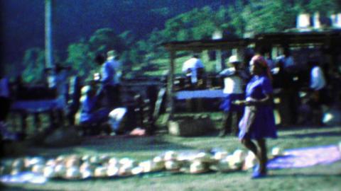 1974: Caribbean tourist souvenir markets women delivering goods Footage