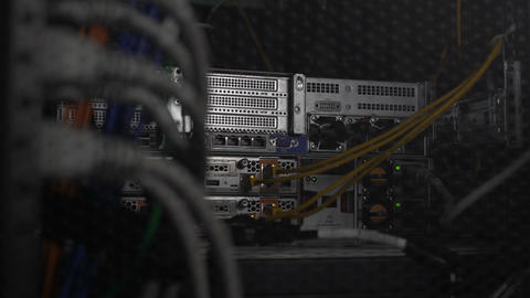 Database server hardware with networking cables, web hosting, cloud computing Footage
