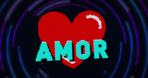 Heart and love retro style Animation
