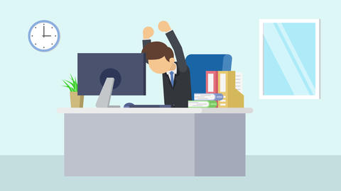 Business man is working. Feel happiness. Business emotion concept. Loop Animation