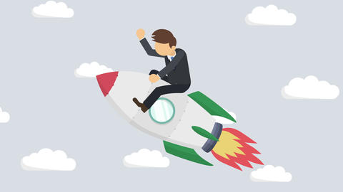Business man flying on rocket through cloud sky. Leap concept. Loop illustration Animation