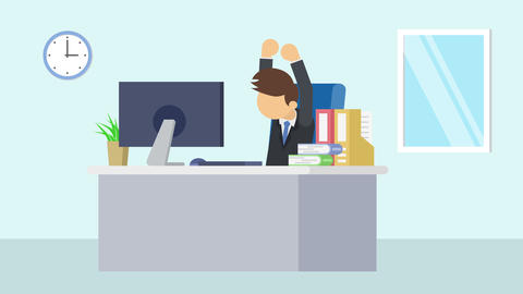 Business man is working. To stretch. Business emotion concept. Loop illustration Animation