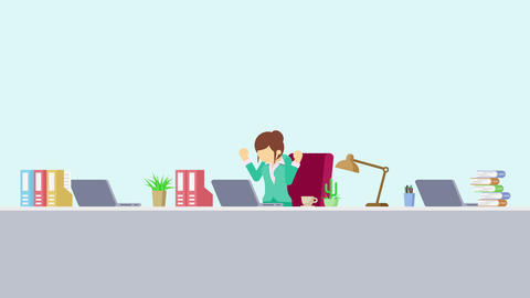 Business woman is working. Feel happiness. Business emotion concept. Loop Animation
