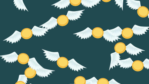 Money fly away. Business inequality concept. Loop illustration in flat style CG動画