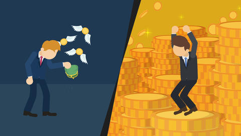 Business difference. Rich man versus poor man. Inequality concept. Loop Animation