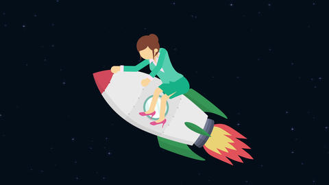 Business woman flying on rocket through the space. Leap concept. Loop Animation