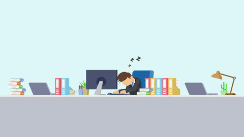 Business man is working. Tired and sleep. Business emotion concept. Loop Animation
