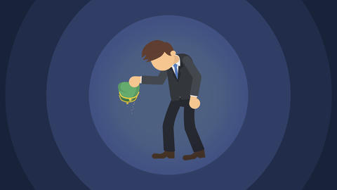 Poor business man. Inequality concept. Loop illustration in flat style Animation