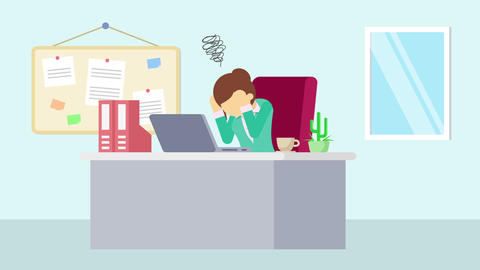 Business woman is working. Be troubled. Business emotion concept. Loop Animation