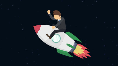 Business man flying on rocket through the space. Leap concept. Loop illustration CG動画