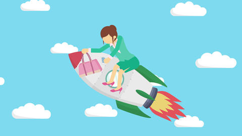 Business woman flying on rocket through blue sky. Leap concept. Loop Animation