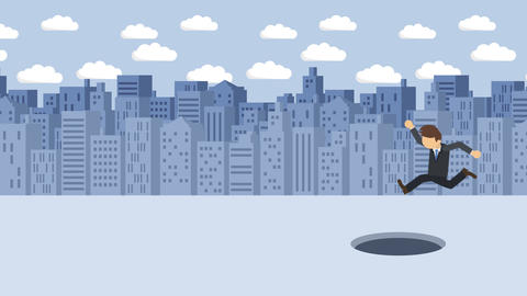 Business man jump over the hole. Background of buildings. Risk concept. Loop Animation