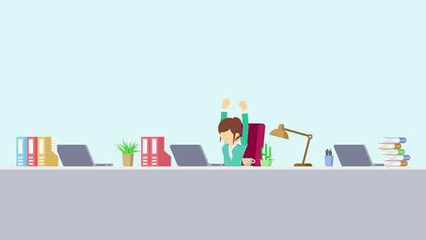 Business woman is working. To stretch. Business emotion concept. Loop Animation