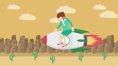 Business woman flying on rocket through the desert. Leap concept. Loop Animation