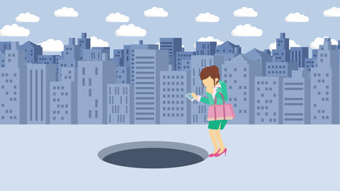 Business woman jump over the hole. Background of buildings. Risk concept. Loop CG動画