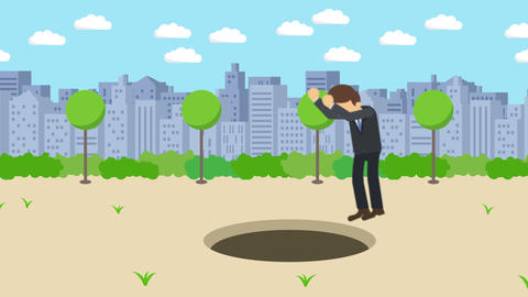 Business man jump over the hole. Background of town. Risk concept. Loop Animation