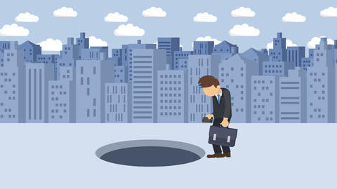 Business man jump over the hole. Background of buildings. Risk concept. Loop CG動画