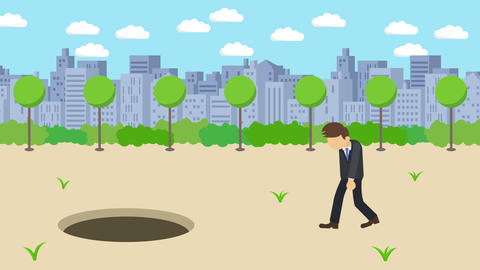 Business man fall into the hole. Background of town. Risk concept. Loop Animation