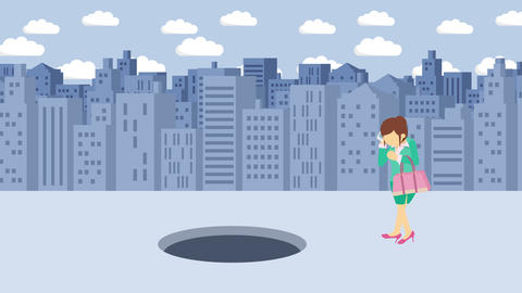 Business woman fall into the hole. Background of buildings. Risk concept. Loop Animation