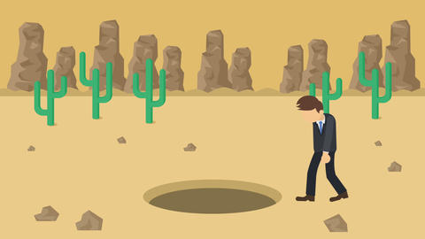 Business man fall into the hole. Background of desert.... Stock Video Footage