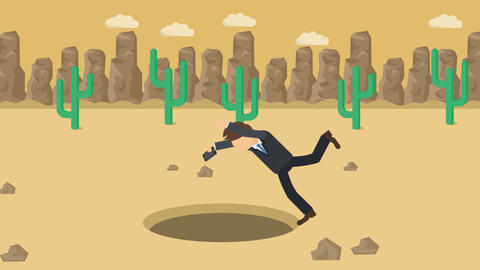 Business man fall into the hole. Background of desert. Risk concept. Loop Animation