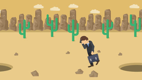 Business man jump over the hole. Background of desert.…, Stock Animation