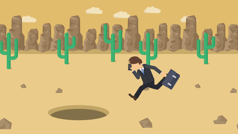 Business man jump over the hole. Background of desert.... Stock Video Footage