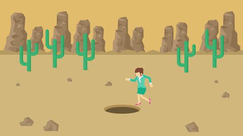 Business woman jump over the hole. Background of desert. Risk concept. Loop Animation
