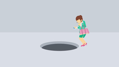 Business woman jump over the hole. Risk concept. Loop illustration in flat style Animation