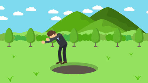 Business man fall into the hole. Background of mountains. Risk concept. Loop Animation