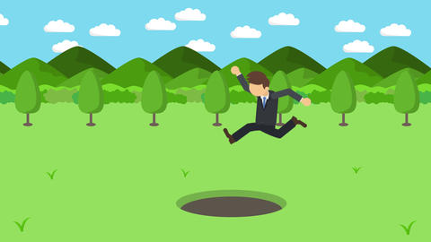 Business man jump over the hole. Background of mountains. Risk concept. Loop Animation