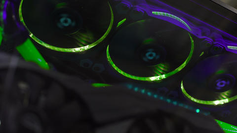 Spinning computer fans with illumination, liquid cooling, high-end technologies Footage