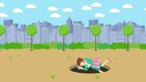 Business woman fall into the hole. Background of town. Risk concept. Loop Animation