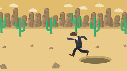 Business man jump over the hole. Background of desert. Risk concept. Loop Animation