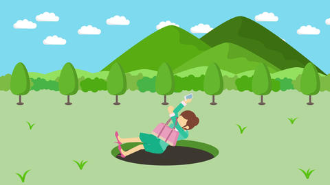Business woman fall into the hole. Background of mountains. Risk concept. Loop CG動画