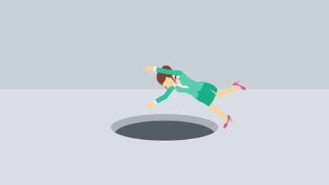 Business woman fall into the hole. Risk concept. Loop illustration in flat style Animation