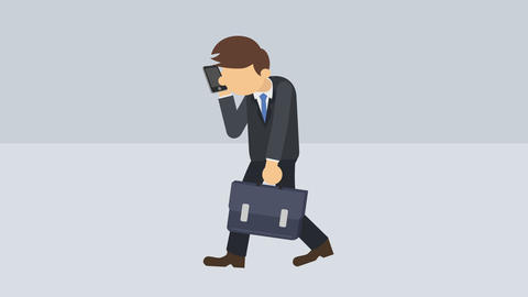 Business man walking with suitcase and phone. Success concept. Loop illustration Animation