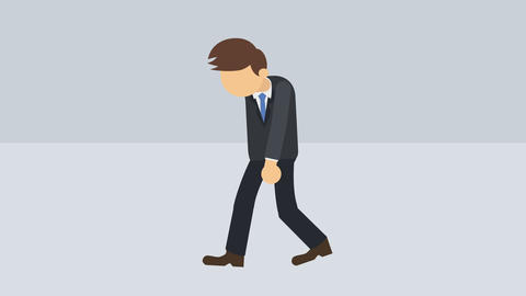 Business man walking. Success concept. Loop illustration in flat style CG動画素材