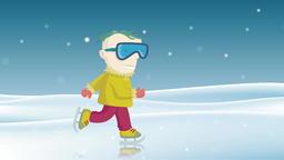 Child ice skating. Seamless loop Animation
